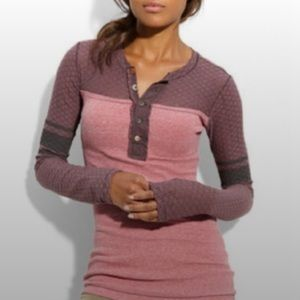 Free People Thermal Lace Rocker Henley Pink/Purple GUC size Large